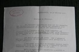 Lette Du Sénat  Adressée De CHATEL GUYON, Hôtel BELLEVUE,   Le 10 Février 1943  Au Sénateur Bertrand CARRERE. - Documenti Storici