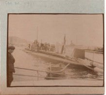 Cannes Ile Ste Marguerite  BATEAU SOUS MARIN ? 1911 Marine Militaire Nationale Photo 8x11cm Collée Sur Carton - Boats