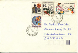 Czechoslovakia Cover Sent To Denmark 15-11-1982 With More Topic Stamps - Brieven En Documenten