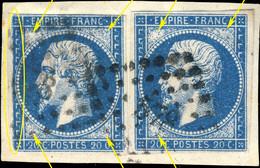 France - 2x Yv.14A 20c Bleu T.1 - Impression Défectueuse - Obl. PC 578 (Caen) B & TB Sur Fragment - (ref.04m) - 1853-1860 Napoléon III.