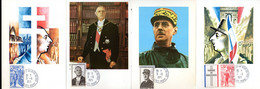 """"""" DE GAULLE """" Sur 4 Cartes Maximum De 1971 Obl. COLOMBEY-LES-DEUX-EGLISES. N° YT 1695 à 1698. Parfait état. CM - De Gaulle (Generale)"""