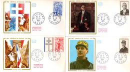 """"""" DE GAULLE """" Sur 4 Enveloppes 1er Jour De 1971 Obl. LILLE. N° YT 1695 à 1698. Parfait état. FDC - De Gaulle (Generale)"""