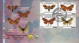 MOTHS Series 12-STAMP 3-SET FDC NEPAL 2014 - Schmetterlinge