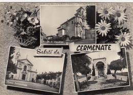 CERMENATE-COMO-SALUTI DA-MULTIVEDUTE(3 IMMAGIBI?-CARTOLINA VERA FOTOGRAFIA -VIAGGIATA IL 3-8-1957 - Como