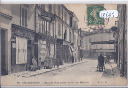 CHAMPIGNY- GRANDE-RUE PRISE DE LA RUE MIGNON- LES COMMERCES- COIFFEUR- CHARCUTERIE- ANIMEE- ELD - Champigny Sur Marne