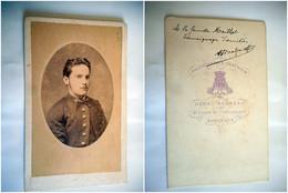 PHOTO CDV JEUNE HOMME CHIC  MODE  DEDICACE AU VERSO Cabinet HENRI BOUREAU   A BORDEAUX - Ancianas (antes De 1900)