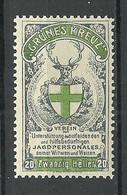 Germany Deutschland 1907 Grünes Kreuz Jagd Hunting Vignette Werbemarke Charity Charite  Spendemarke 20 H. MNH - Cinderellas