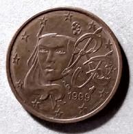 1999  - FRANCIA - MONETA IN EURO  - DEL VALORE DI  2 CENTESIMI  -  USATA - France