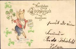 Gaufré CPA Glückwunsch Neujahr, Schweinchen, Geldsack, Glücksklee - Anno Nuovo