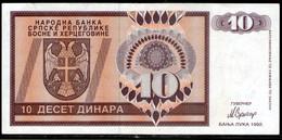 Bosnia And Herzegovina,10 Dinara, Handstamp Travnik, 1992,P133,as Scan - Bosnia Erzegovina