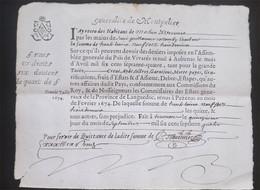 Ardèche Fait à Tournon 1674 Quart De Papier - Manoscritti
