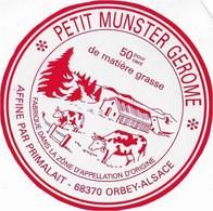 ETIQUETTE FROMAGE  10 Cm Petit MUNSTER  GEROME PAPIER TRANSLUCIDE  PRIMALAIT ORBEY ALSACE - Cheese