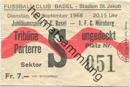 Schweiz - Fussball-Club Basel Stadion St. Jakob - Jubiläumsspiel F.C Basel - 1. F. C. Nürnberg - Eintrittskarte - Biglietti D'ingresso