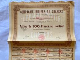 COMPAGNIE  MINIÈRE  De  CHARENS ----------Action  De  100 Frs - Miniere