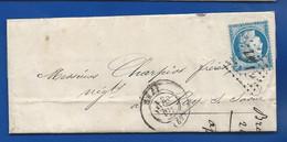 Lettre   Avec Timbre  Cérès N° 60  Oblitération:  GRAY 20 Dec 1873 - 1849-1876: Classic Period