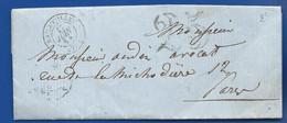 Lettre  Oblitération: Rambouillet 17 Juin 1854  à  Destination De  Paris    Taxé à 25 - 1849-1876: Classic Period