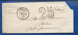 Enveloppe  D'Amiens 14 Mars 1854   Taxé à 25 Cts - 1849-1876: Classic Period