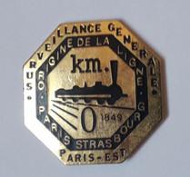 QQ33 Pin's Train SNCF TGV Vapeur Ligne Paris Strasbourg Surveillance Générale 1849 KM 0 - TGV