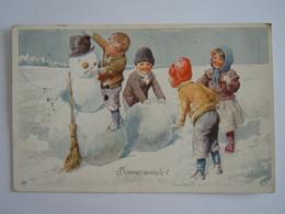 Cpa Bonne Année Enfants Bonnehomme De Neige Kinderen Sneeuwman Illustratie K Feiertag Gelopen 1914 Edit H.K.W.I. 3017-6 - Feiertag, Karl