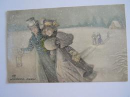 Cpa Illustrateur V.K. Vienne 5131 Bonne Année Couple Dans La Neige Koppel In De Sneeuw Gelopen Circulée 1912 - Vienne