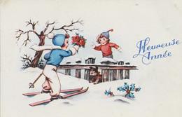 MIGNONNETTE BONNE ANNEE JOYEUX NOEL ILLUSTRATEUR  ENFANT NEIGE  1955 KINDER SKI CHIEN  HOUX - Anno Nuovo