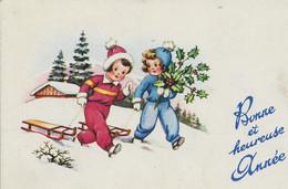 MIGNONNETTE BONNE ANNEE JOYEUX NOEL ILLUSTRATEUR  ENFANT NEIGE  1955 KINDER LUGE SAPIN VILLAGE  HOUX - Anno Nuovo