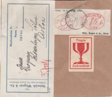 Schweiz - - Klebezettel Mit Werbung-Firmen-Freistempel In Oval- - Postage Meters