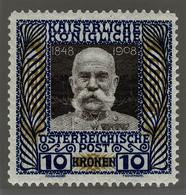 Österreich 156 */** 10 Kr. Regierungsjubiläum Kaiser Franz Joseph I. = Autriche Yvert 117 Neuf = Austria Scott #127 Mint - Nuovi