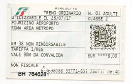 ITALY - TRENITALIA - TRENO ORDINARIO FIUMICINO ROMA - CLASSE 2 - Andere