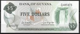 GUYANA  UNC  FIVE DOLLARS  P22E  PREFIX A/32 - Guyana