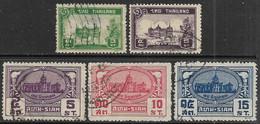 Siam 1939-40  Sc#235-7, 239-40  5 Diff Used   2016 Scott Value $6.60 - Siam