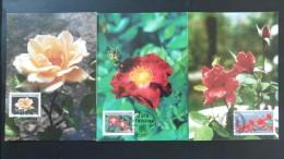 Carte Maximum Card (x3) Roses Luxembourg 1997 - Roses