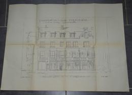 PLAN IMPRIME, PLANCHE ARCHITECTURE FACADE PROPRIETE CHARLEVILLE RUE THIERS ARQUEBUSE, COUPE VUE 1928 ART DECO ARCHITECTE - Architecture