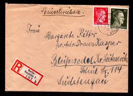 DR R-Brief BERLIN-NEUKÖLLN - Bleiswedel Sudetengau - 26.2.44 - Mi.827,794 - Covers & Documents
