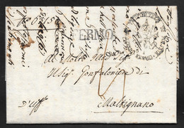 Italy - 1816 Entire Letter Fermo To Maltignano Via Macerata - ...-1850 Préphilatélie