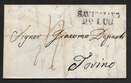 Italy - 1836 Entire Letter Savigliano To Torino - ...-1850 Préphilatélie