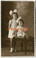 Old Photo Postcard Foto Zissu Portrait Little Girls With Big Hair Bun Venado Tuerto Santa Fe Argentina - Anonymous Persons