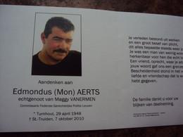 Doodsprentje/bidprentje   Edmondus (Mon) AERTS Turnhout 1948 - 2010 St Truiden  Commissaris Fed.Ger.Politie Leuven - Religione & Esoterismo