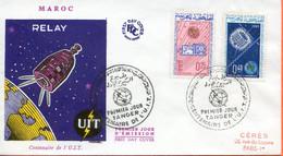 """Maroc;FDC 1er Jour ;1965,TP N°484/485 """" Centenaire De L'UIT """"Morocco,Marruecos - Morocco (1956-...)"""