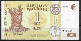 MOLDOVA  UNC  1999  UN LEU  P8D  SERIE A.0041 - Moldova