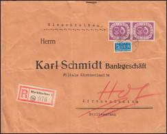 133 Posthorn 40 Pf Als MeF Mit Notopfermarke Auf R-Brief MARKTLEUTHEN 15.2.52 - Non Classés