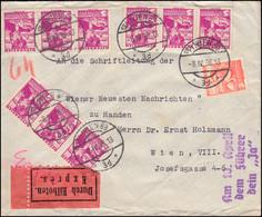 568+570 Volkstrachten Auf Express-Orts-Brief WIEN 8.4.38 Mit Propaganda-Stempel - Storia Postale