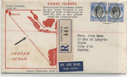 COCOS ISLANDS  : N° (294x2) YetT De SINGAPOUR Enveloppe SOUVENIR  RECOMMANDEE Pour LA FRANCE - Kokosinseln (Keeling Islands)