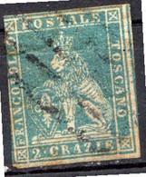 """TOSCANE - (Grand Duché) - 1851 - N° 5 - 2 Cr. Bleu - (""""Marzocco"""" Lion Héraldique) - Toskana"""