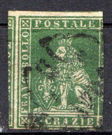 "TOSCANE - (Grand Duché) - 1851 - N° 6 - 4 Cr. Vert - (""Marzocco"" Lion Héraldique) - Toskana"