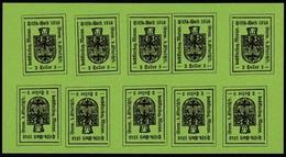 Italia - Emissioni Locali: Merano  Minifogli Da 10 Esemplari - 2 H. Verde Chiaro - 1918 - Merano