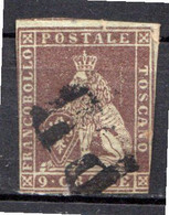 "TOSCANE - (Grand Duché) - 1851 - N° 8 - 9 Cr. Brun-lilas - (""Marzocco"" Lion Héraldique) - Toskana"