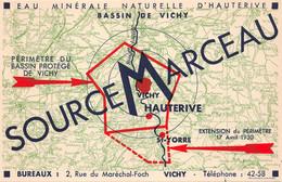 """VICHY  - Buvard - Eau Minérale D'Hauterive """" SOURCE MARCEAU """"  2 Rue Du Maréchal-Foch    - Voir Description - Vichy"""
