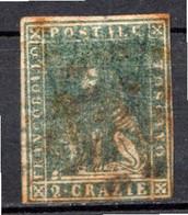 "TOSCANE - (Grand Duché) - 1857 - N° 13 - 2 Cr. Vert-bleu - (""Marzocco"" Lion Héraldique) - Toskana"