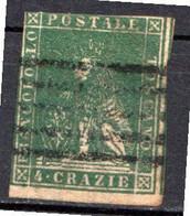 "TOSCANE - (Grand Duché) - 1857 - N° 14 - 4 Cr. Vert - (""Marzocco"" Lion Héraldique) - Toskana"